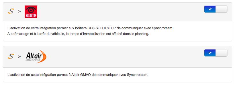 Connecteur Altair GMAO et Solustop GPS