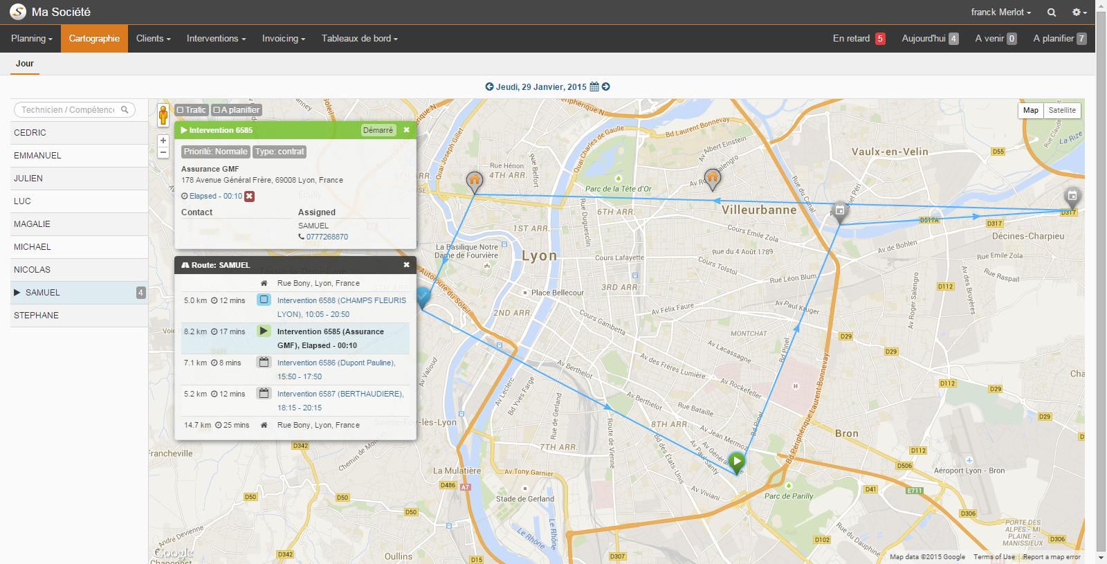 Une nouvelle cartographie avec une vue claire et détaillée du programme journalier des techniciens de maintenance
