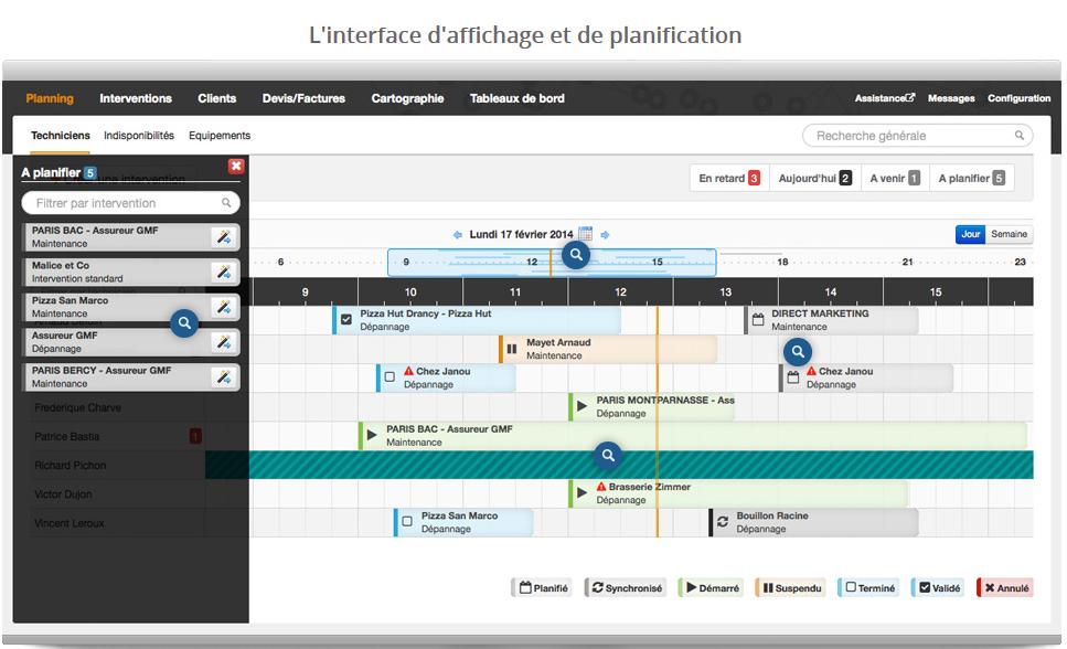 Interface logiciel d'optimisation de tournées